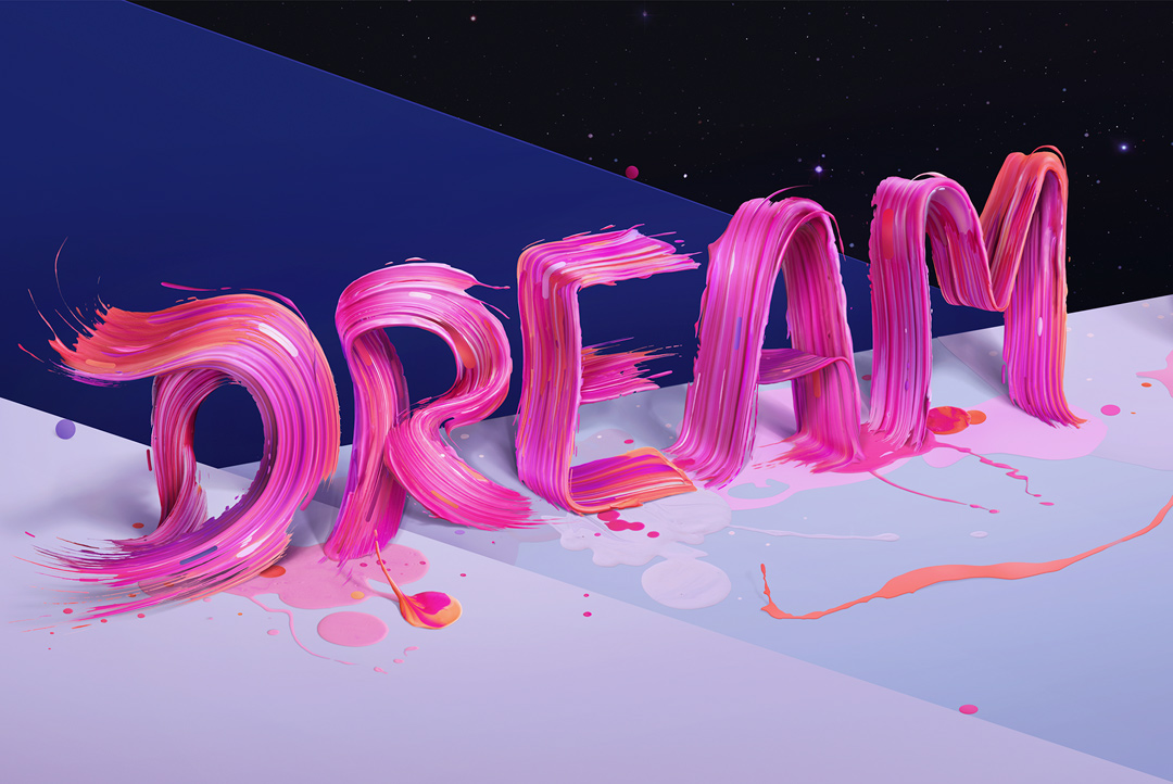 adobe photoshop type lettering paint color colour tv typographic abstract pink