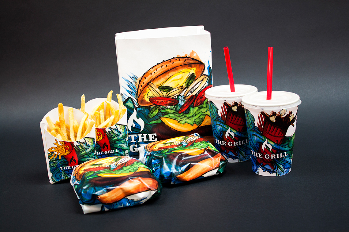Fast food burger Fries coke grill bag cups fry holder wrapper