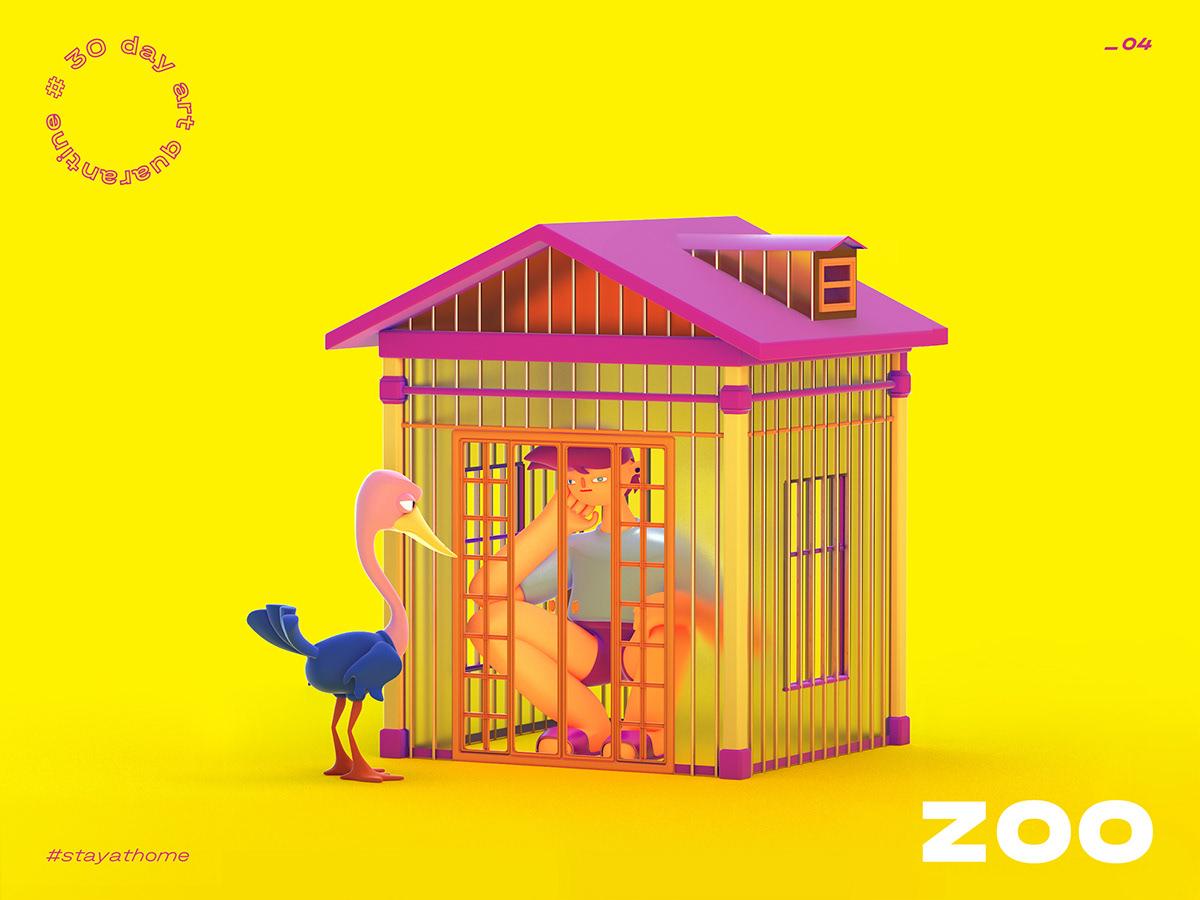 3d illustration cartoon zoo, isolation, ostrich
