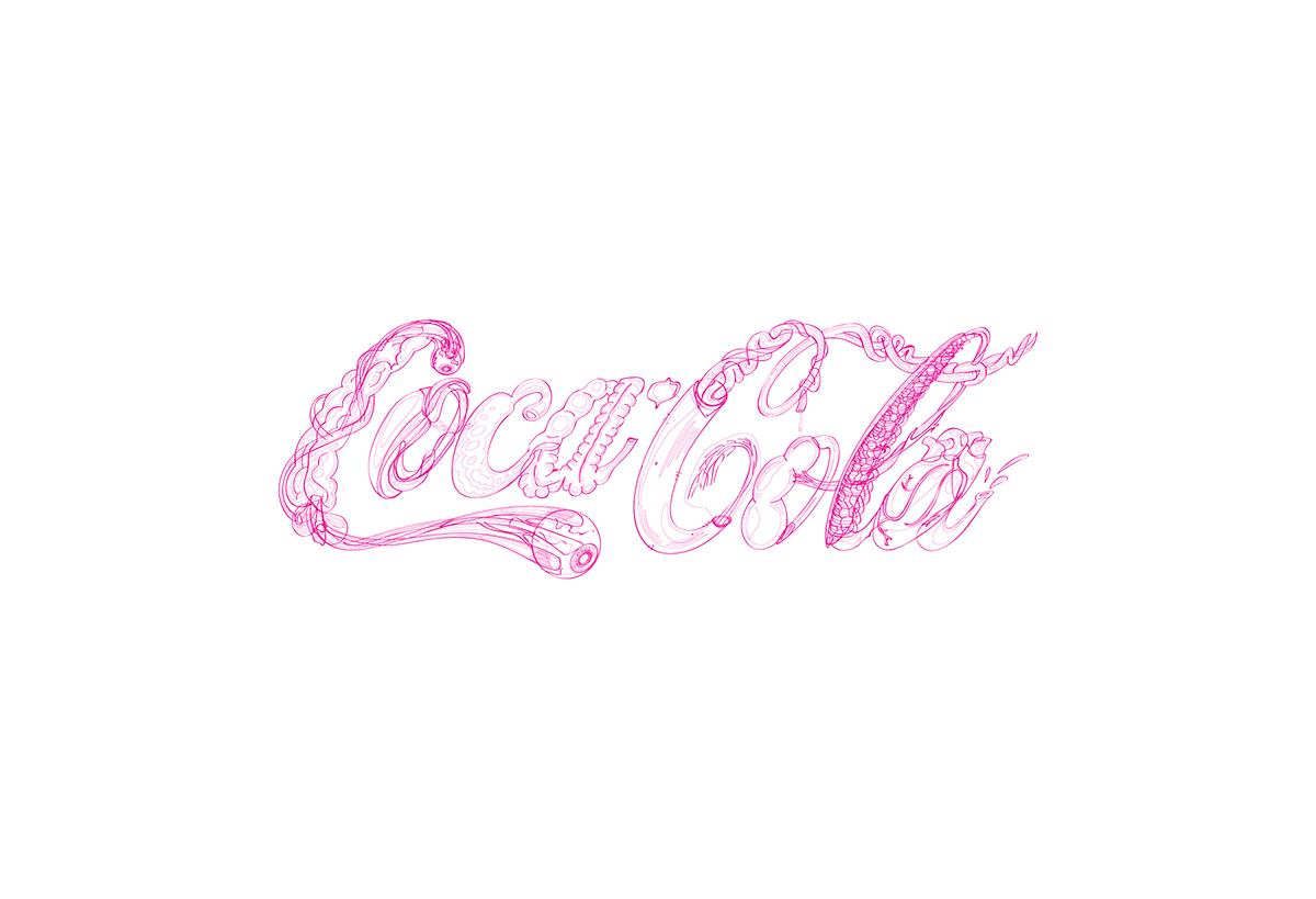 cocacola vector ilustracion lettering tipografia caligrafia letras logo Logotype Logotipo logomark poster Icon guts featured