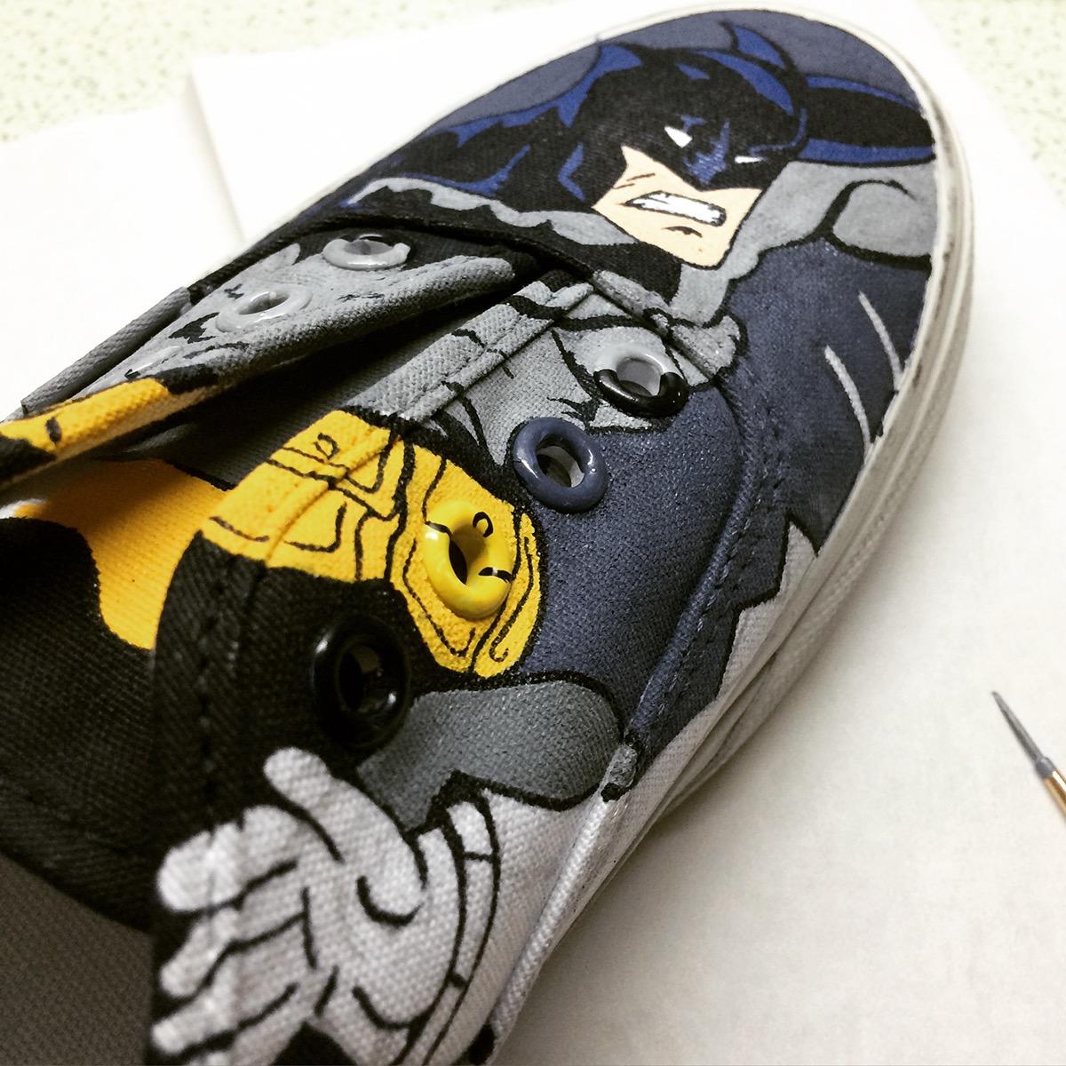 dbfe7bd43d28 The Batman vs The Joker hand painted on Vans white canvas shoes.