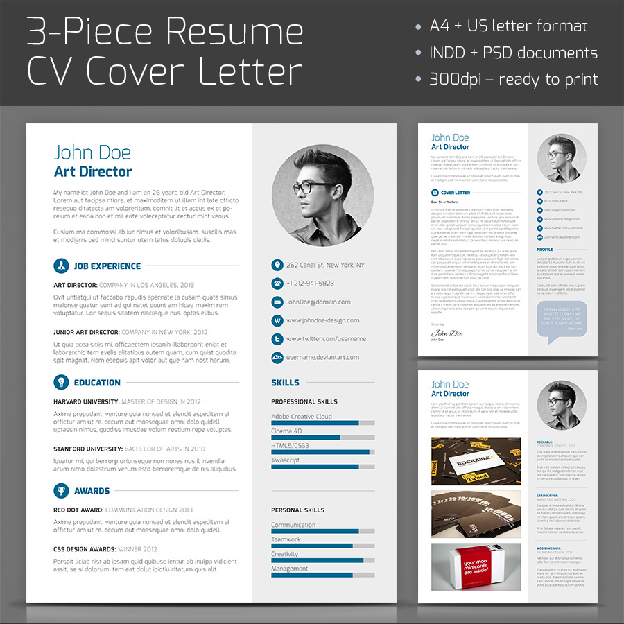 3 piece resume on behance pronofoot35fo Images