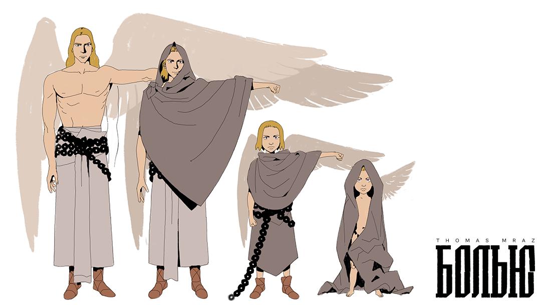 angel,anime,chain,Dinosaur,family,fantasy,pterodactyl,Retro,tribe,wings