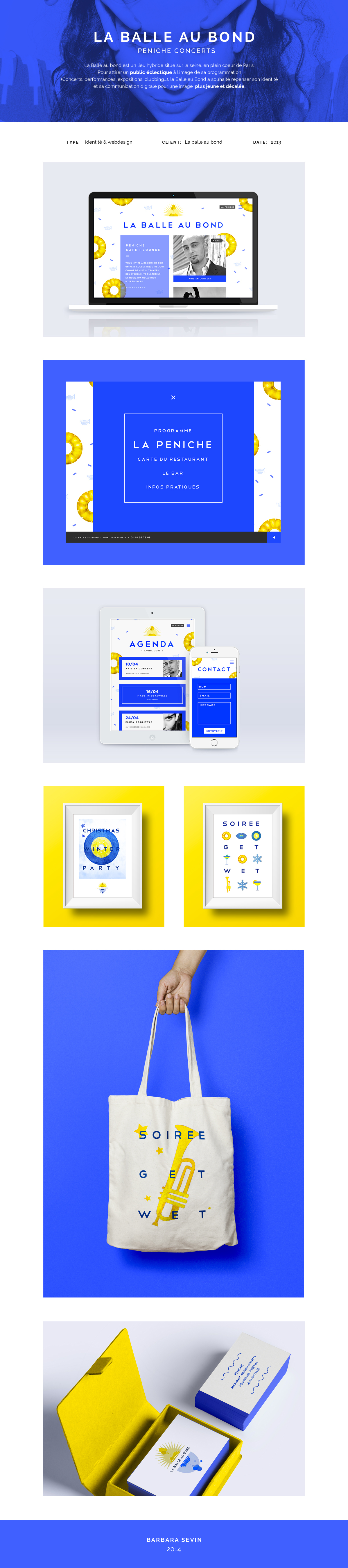 balle au bond bleu concerts spectacle club flyer identity yellow blue Young Fun Website Responsive