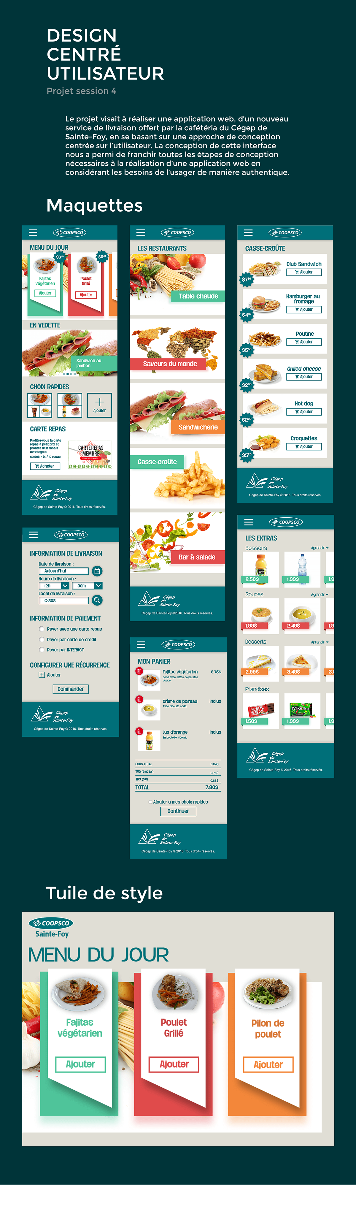 Interface Web design reponsive mobile COOPSCO Alimentation Shopping