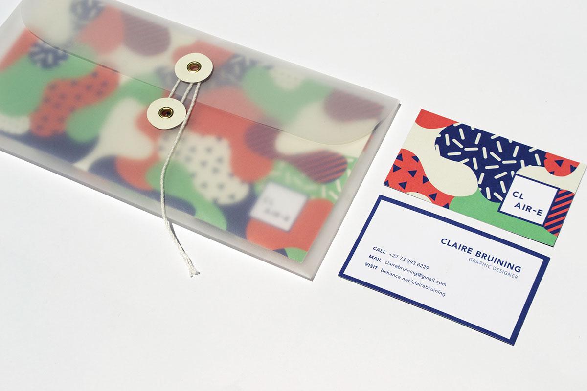 pattern transparent envelope Business Cards CV folder modern clean design