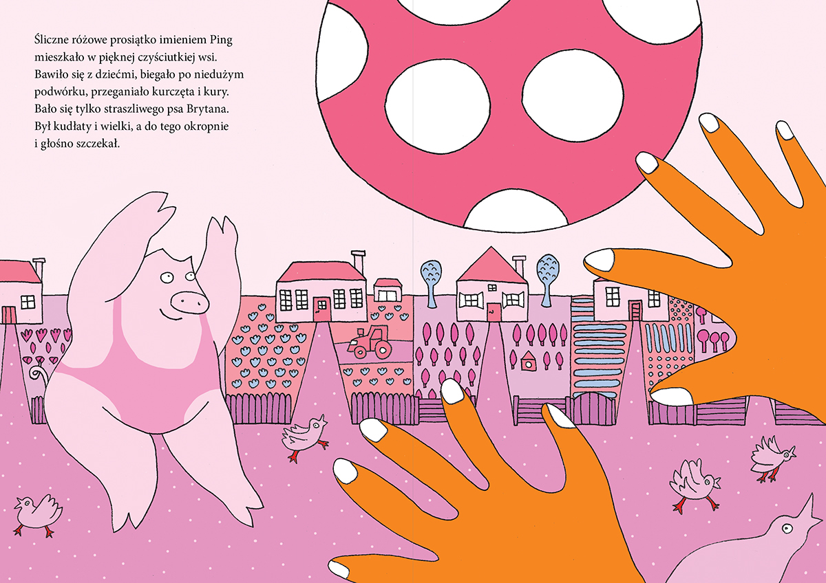 pig animals happy pink dots book children Picture forest country village pigs farm trees