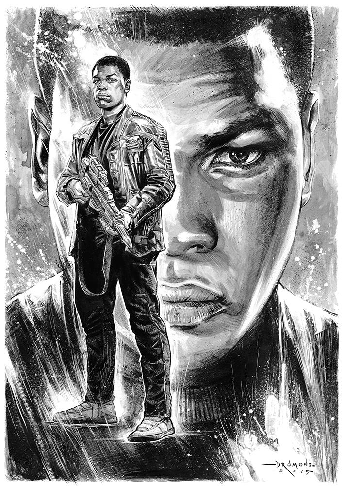 star wars The Force Awakens TFA force awakens yoda Ewok rey Finn darth vader kylo ren jedi force ink brush