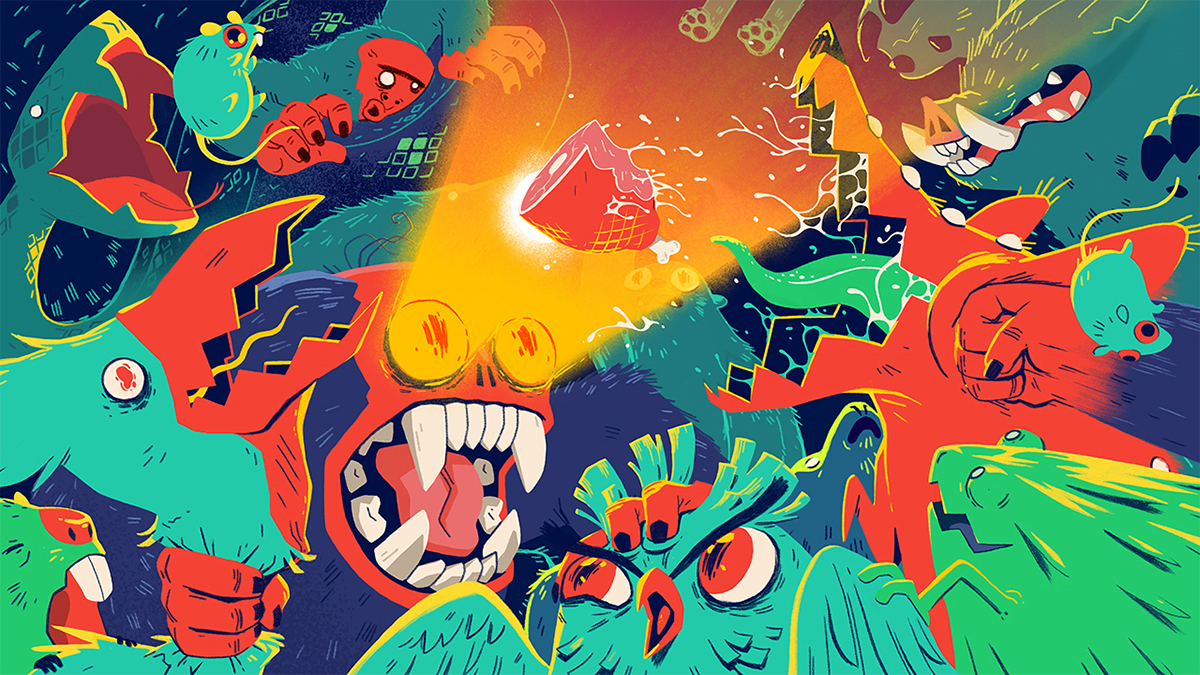 monsters animals animal creatures cartoon funny fighting colorful spit teeth bright monkey hyena bird owl