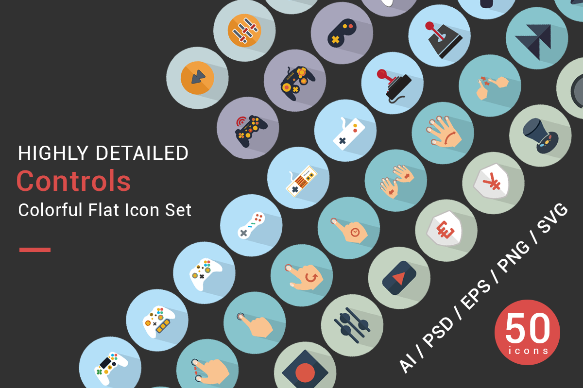 CONTROLS flat icons vector