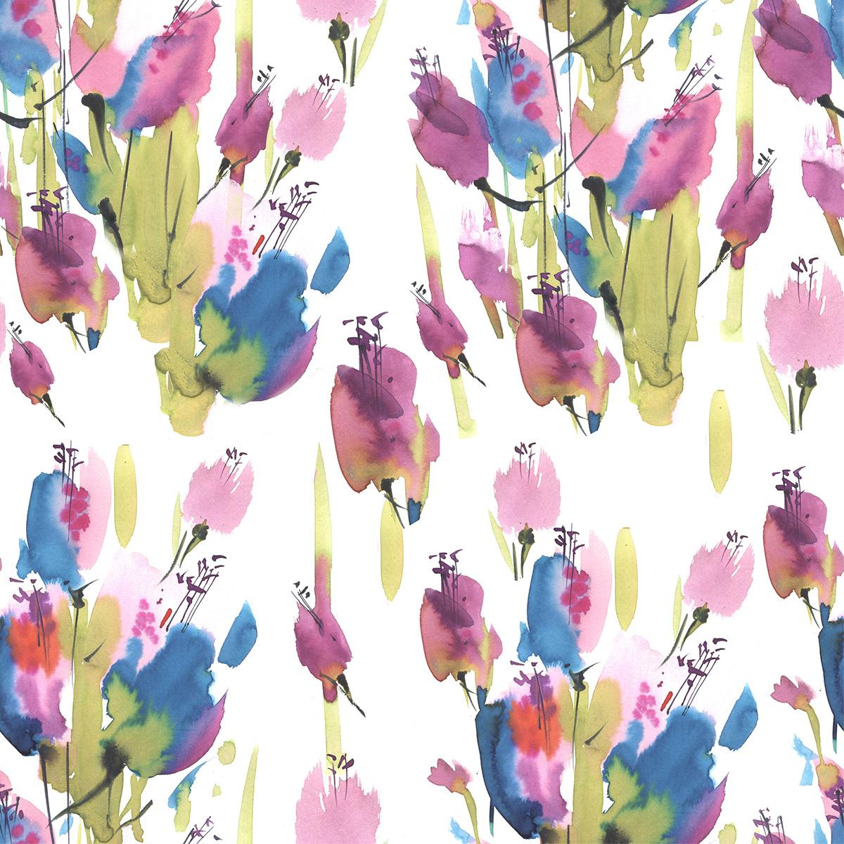 artist deisgn pattern Flowers prints russian artist watercolor паттерн принт художник цветы