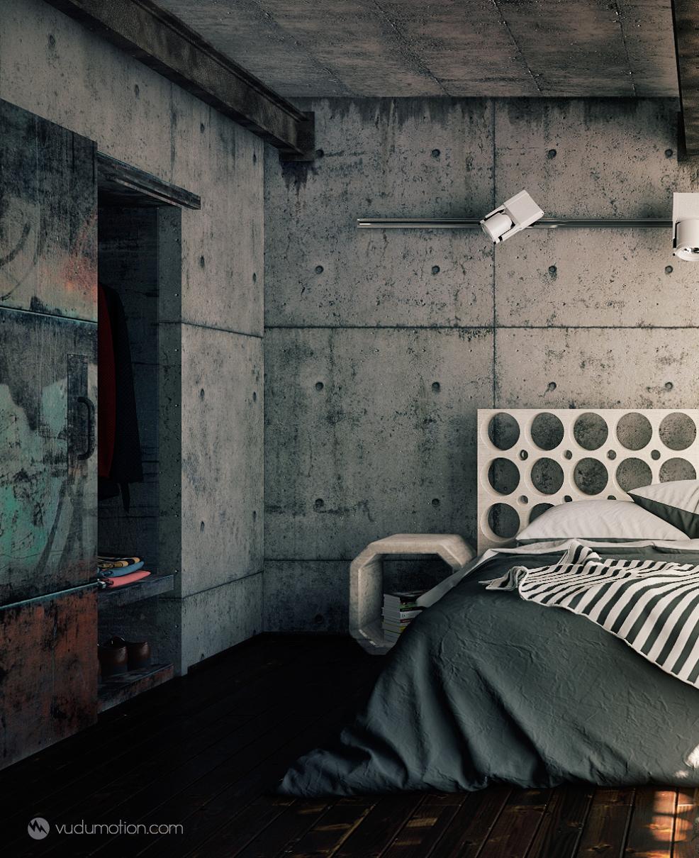 industrial bedroom.  Industrial Bedroom on Behance