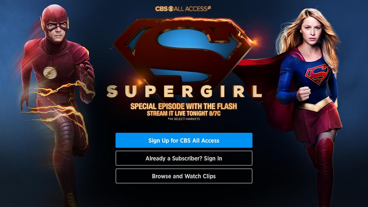 Roku Login page Marketing Design for Supergirl & Flash on