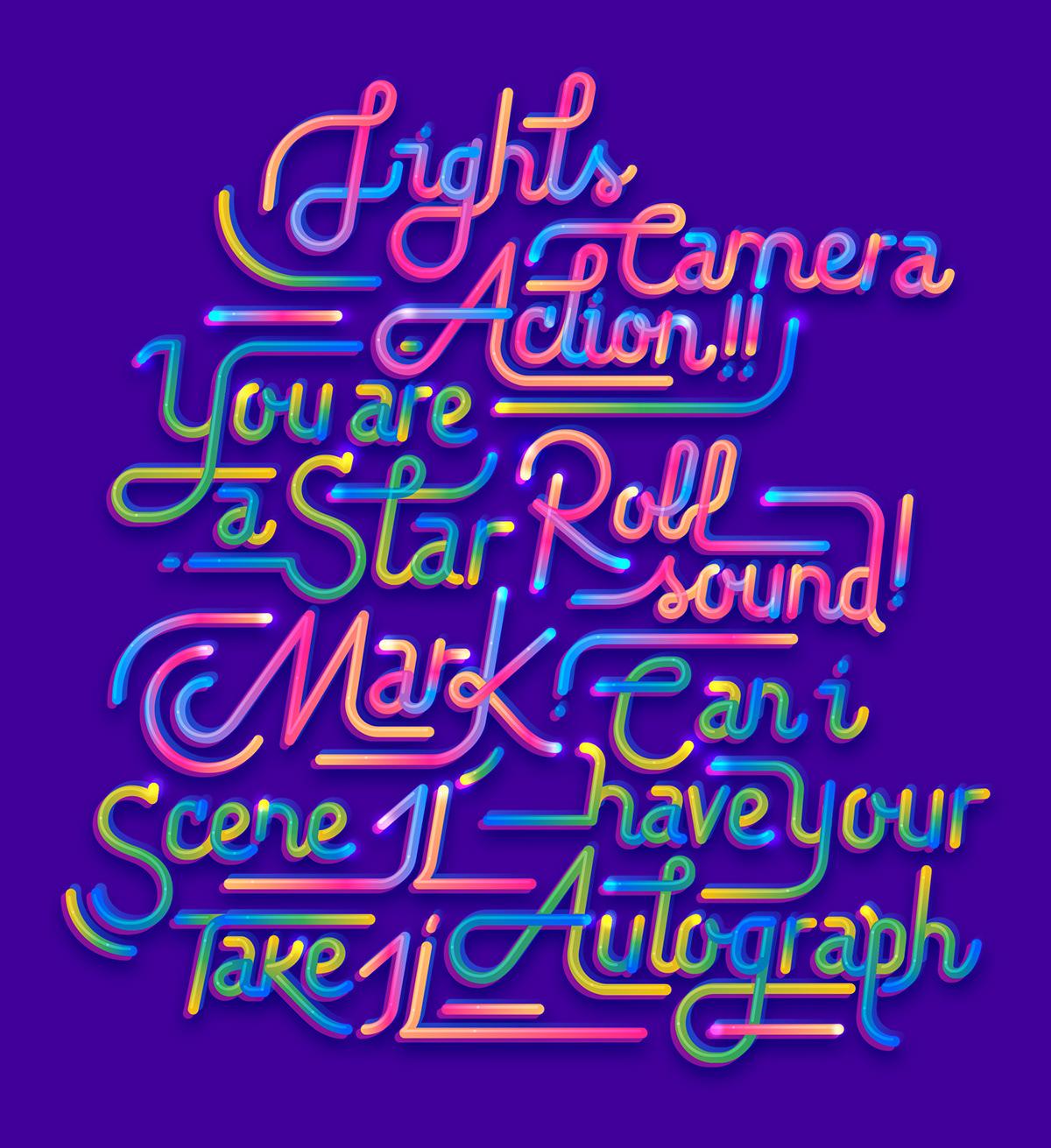 lettering Cinema ribbon font type neon flexible silver color