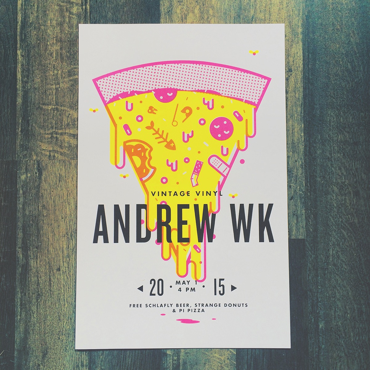 3 color poster designs - 11x17 Poster For Andrew Wk In Store Performance At Vintage Vinyl 3 Color Screen Print Printing Done By Daniel Frumhoff