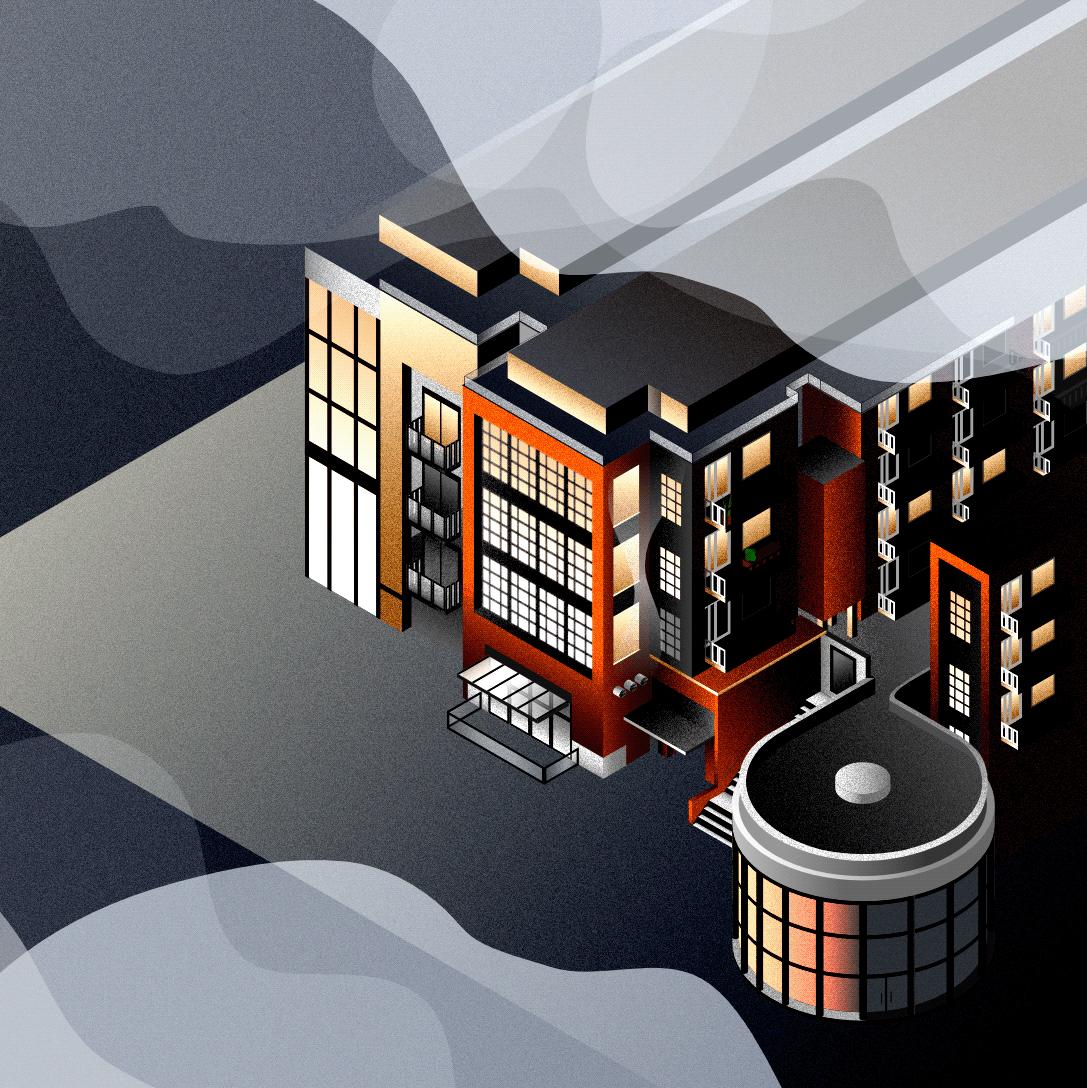 isometric apartment building   in the fog illustration