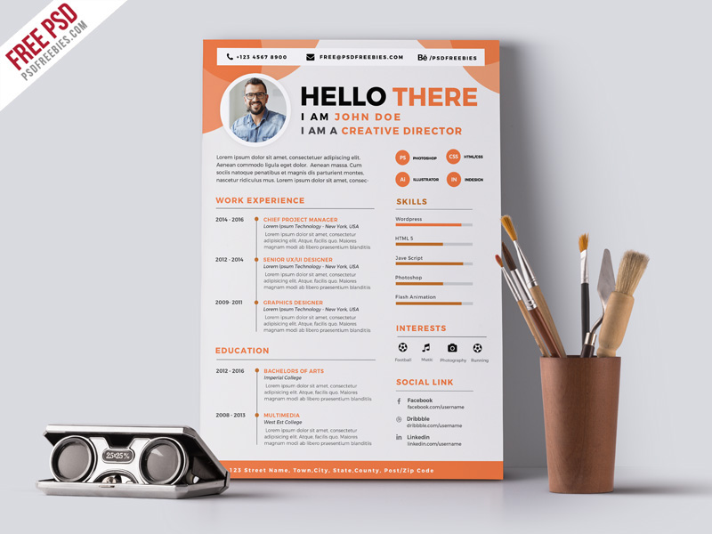 designer resume cv psd template on behance