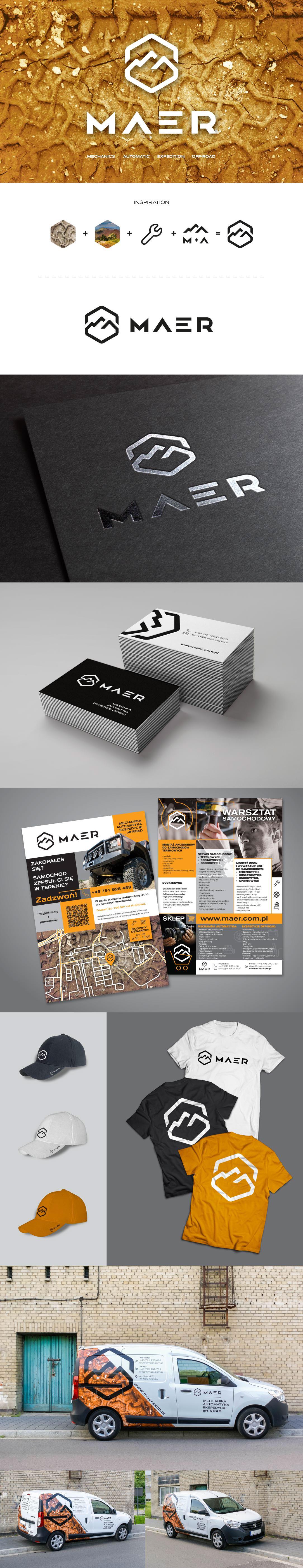 logo brand maer car card t-shirt cap flyer brochure