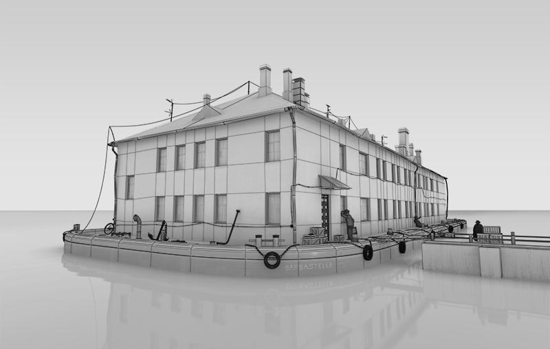 Barge ship house surrealism grunge cloudy