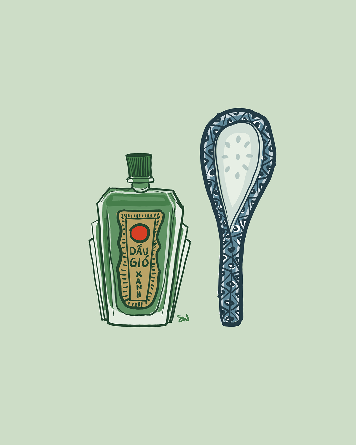 Image of a bottle of menthol oil and a ceramic spoon next to it