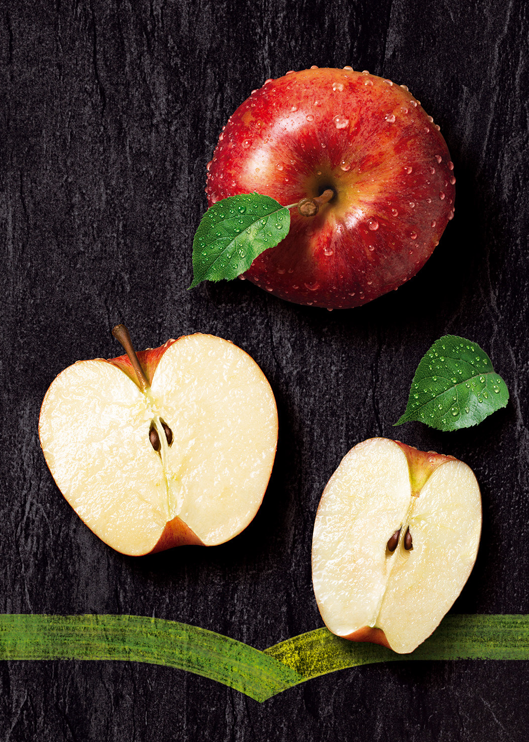 Photo-realistic image of fresh juicy apples on a slate background for Minute Maid packaging.