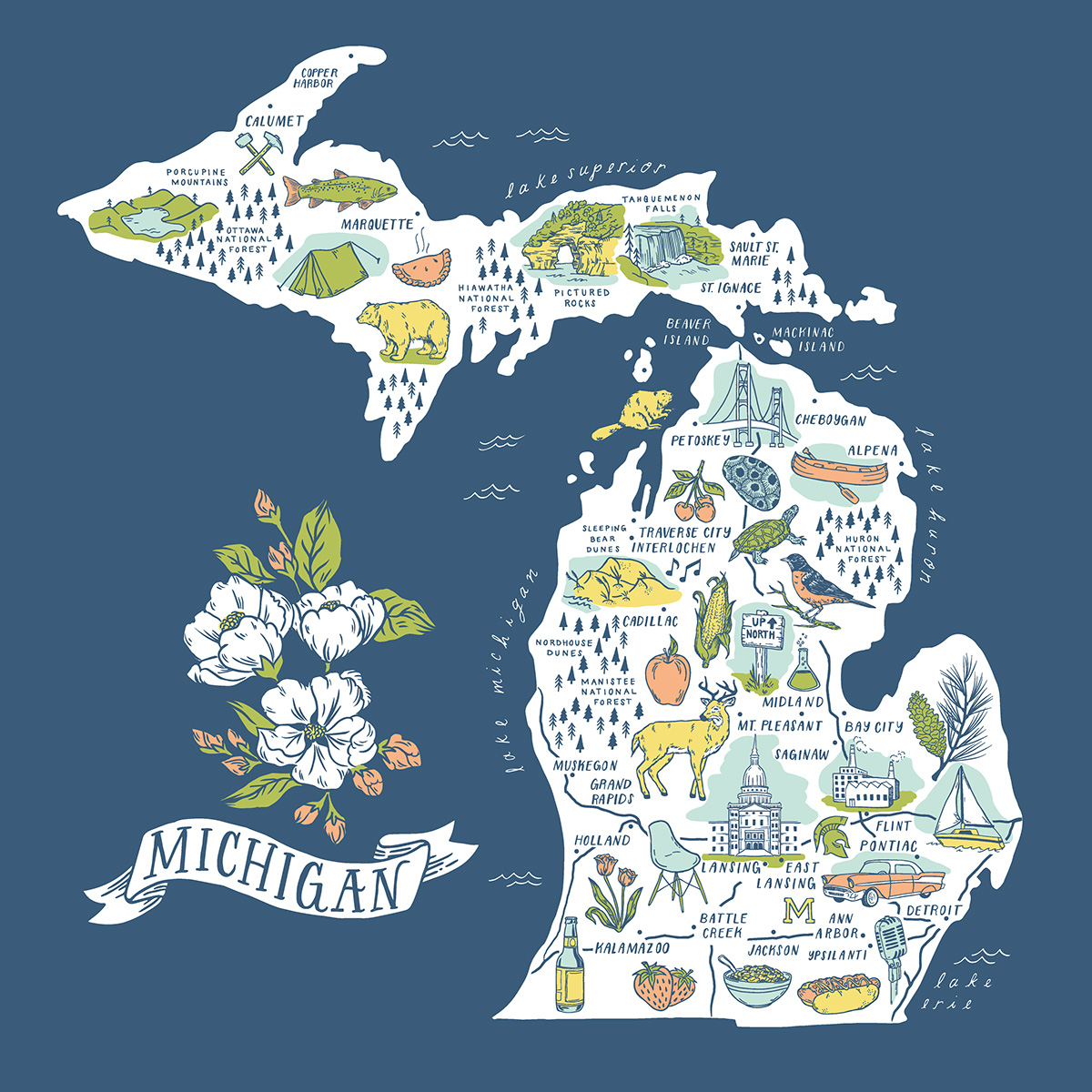 Michigan Illustrated Map Five Color Screen Print On Behance