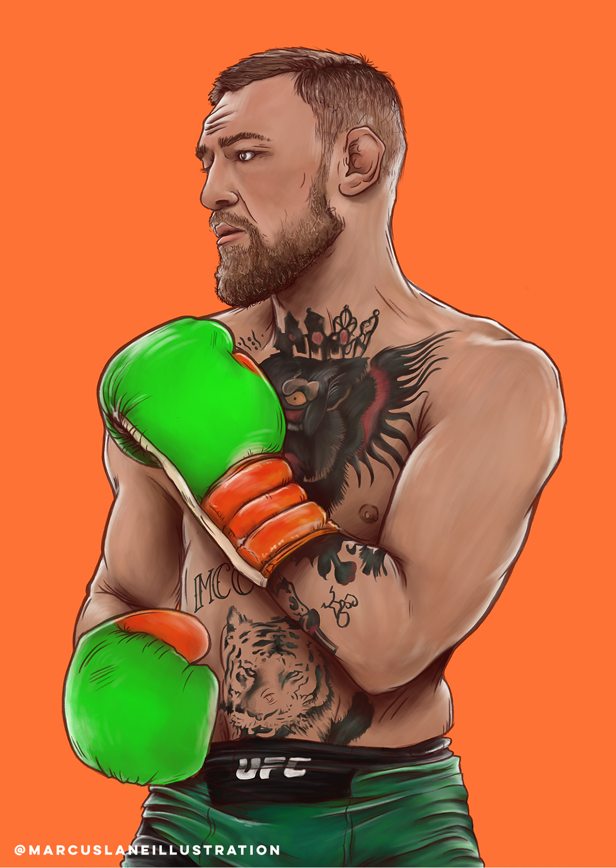 THE NOTORIOUS ONE Conor McGregor print UFC MMA fitness wall decor Boxer wall decor For Gym sportsman Drawing art Conor ILLUSTRATION