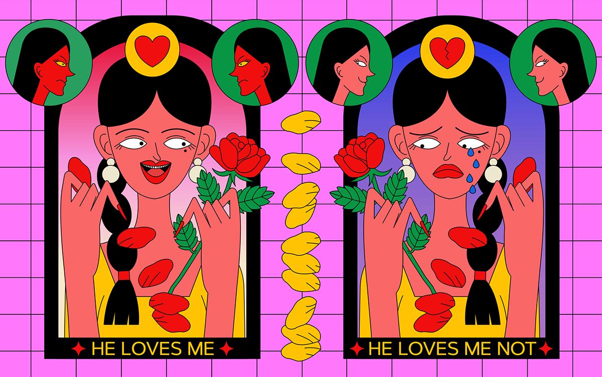 animation  editorial flower gif ILLUSTRATION  Love magazine motion poster typography
