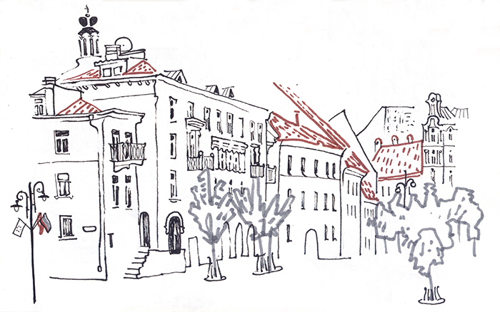 sketch summer sketchbook lithuania kaunas vilnius city old town Coffee people travelbook