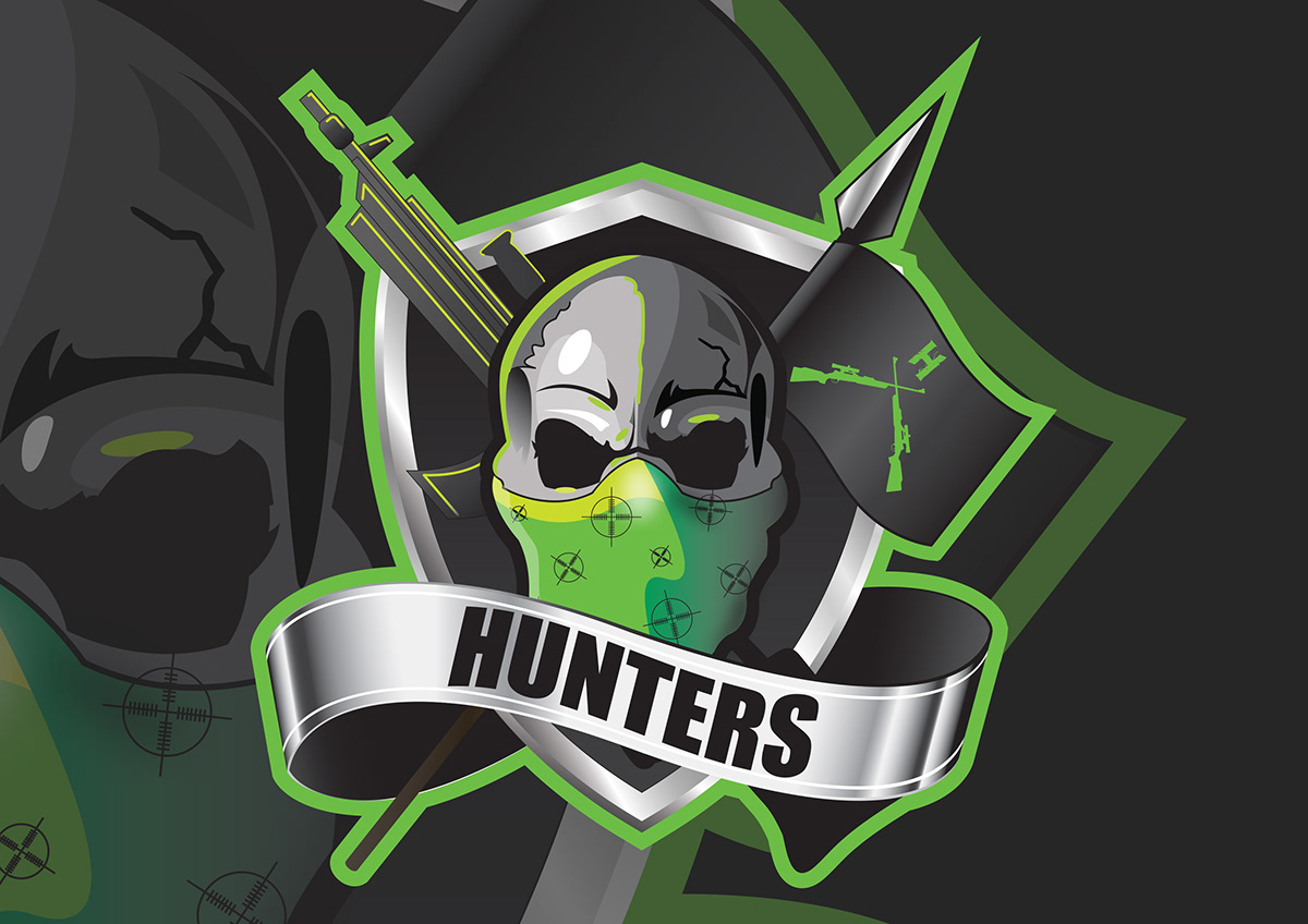 Hunters American Football Team Logo Identity On Student Show