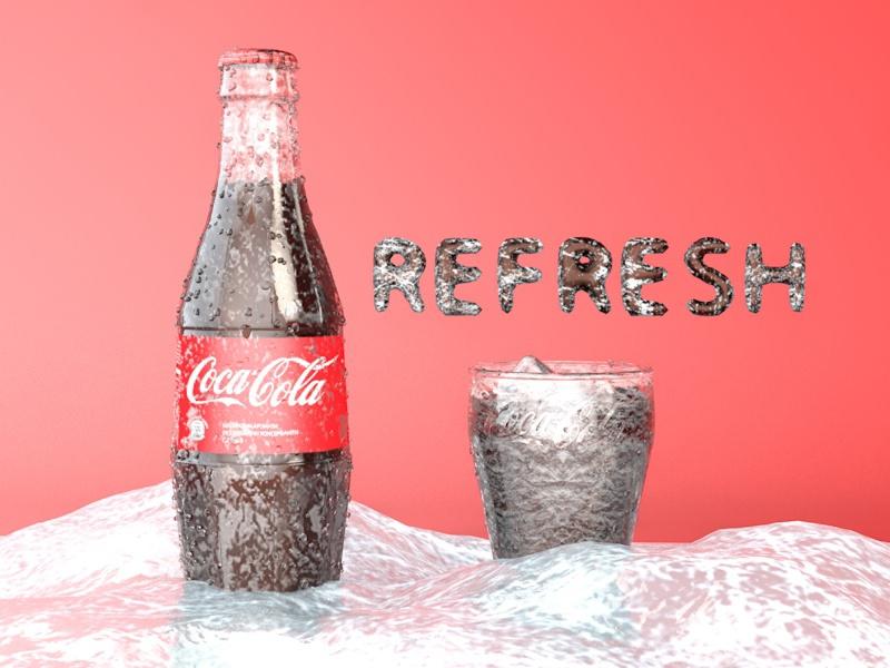 Coke Bottle C4D model / Modelo de botella C4D on Behance