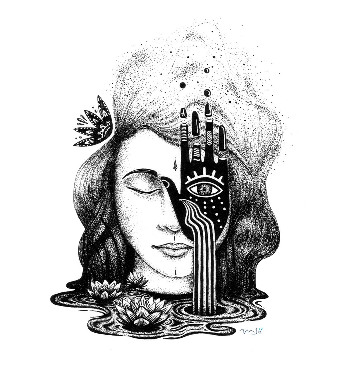 illustration québec ILLUSTRATION  Yoga meditation tattoo art Street Art  pen and ink print design