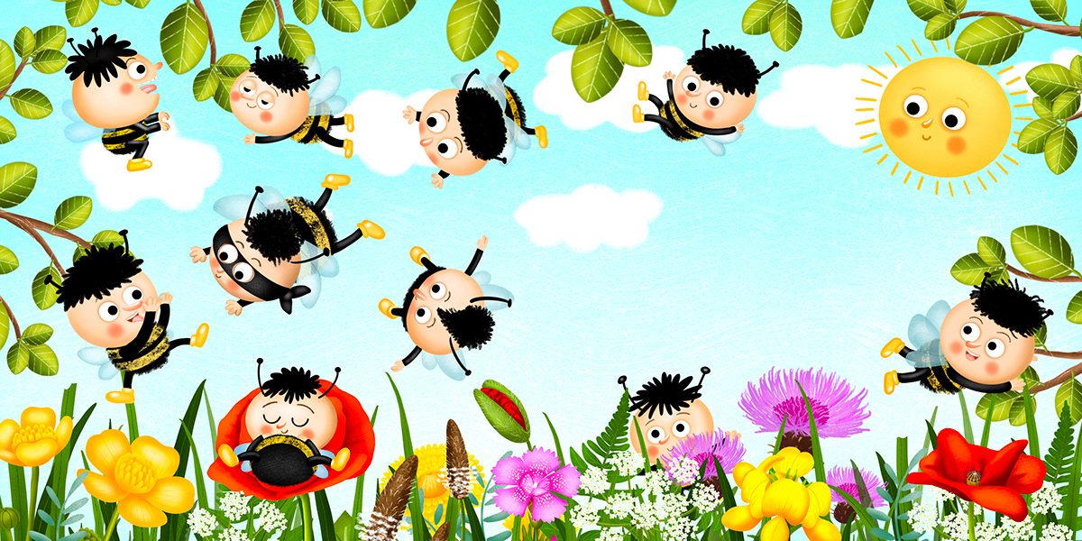Bumblebee Flowers illustration for kids insect