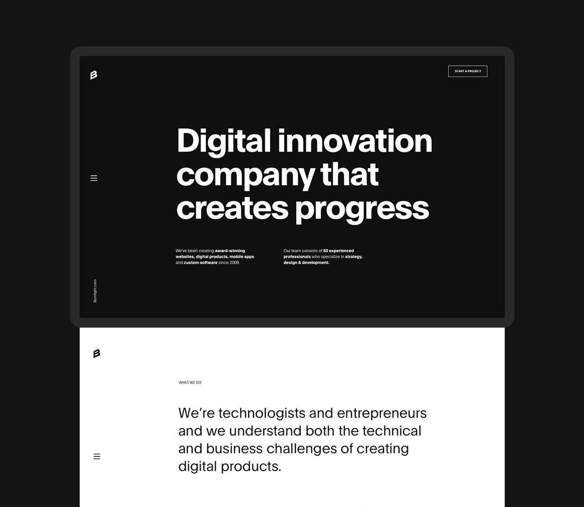 Přehledný design webu s výraznou typografií.