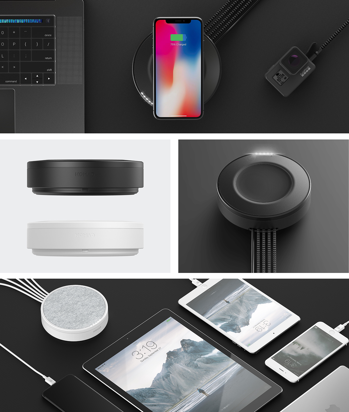 nomad wireless charging hub on behance