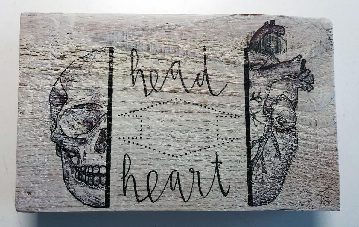 cabeza corazon head heart art madera wood reciclaje RECYCLED deco Pallet
