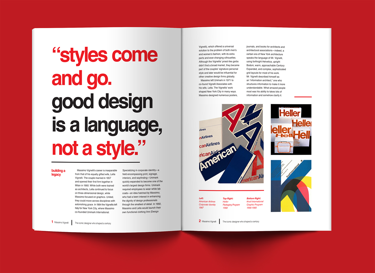 Editorial Massimo Vignelli On Behance