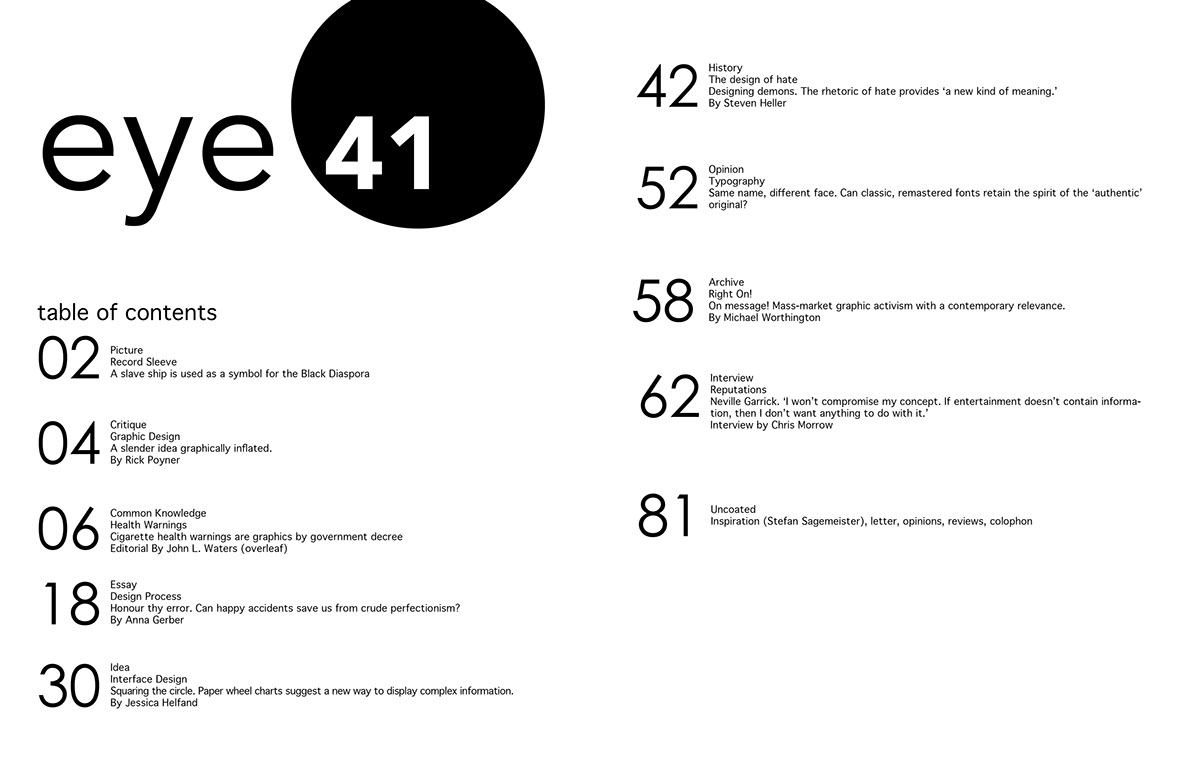 Table of Contents Designs on Behance