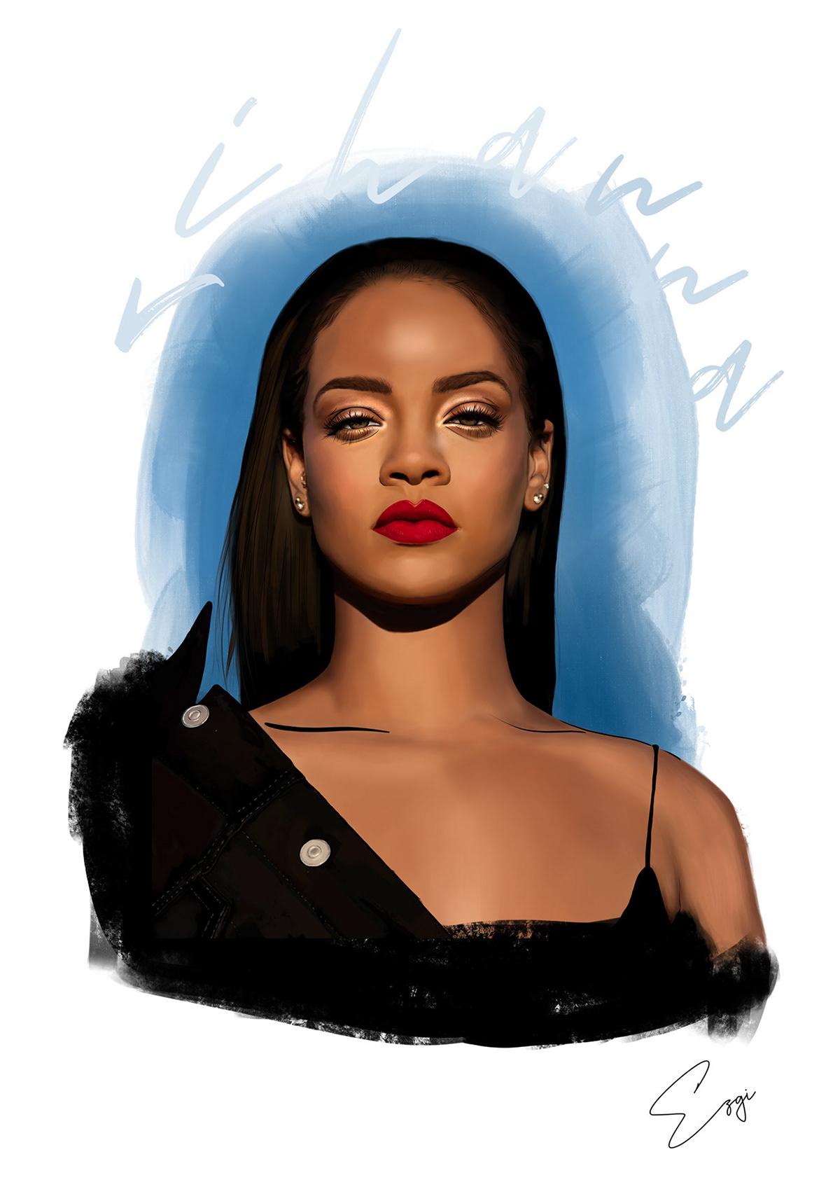 draw ILLUSTRATION  ipad pro Procreate Rihanna skecth design Digital Art  music poster