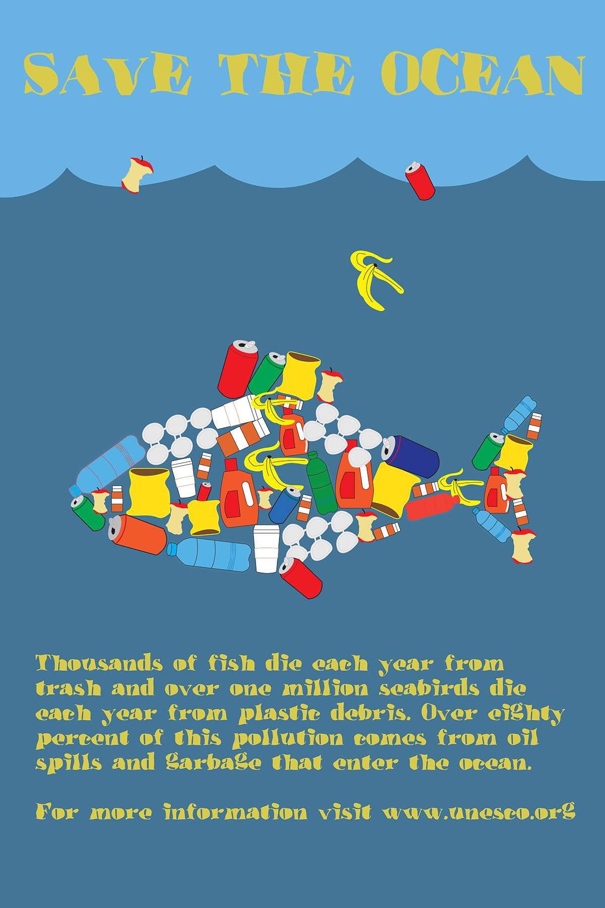 ocean pollution poster on behance