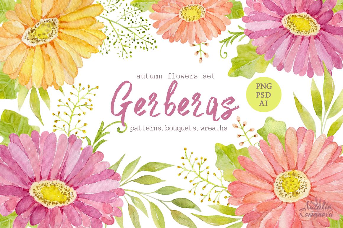 Watercolor Set Of Gerbera Flowers On Behance