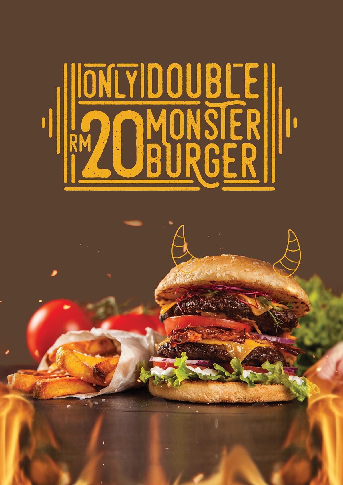monster burger identity on behance