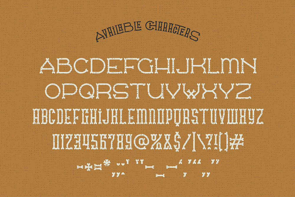 vintage west wild Classic ligature Typeface lettering western extrude texture