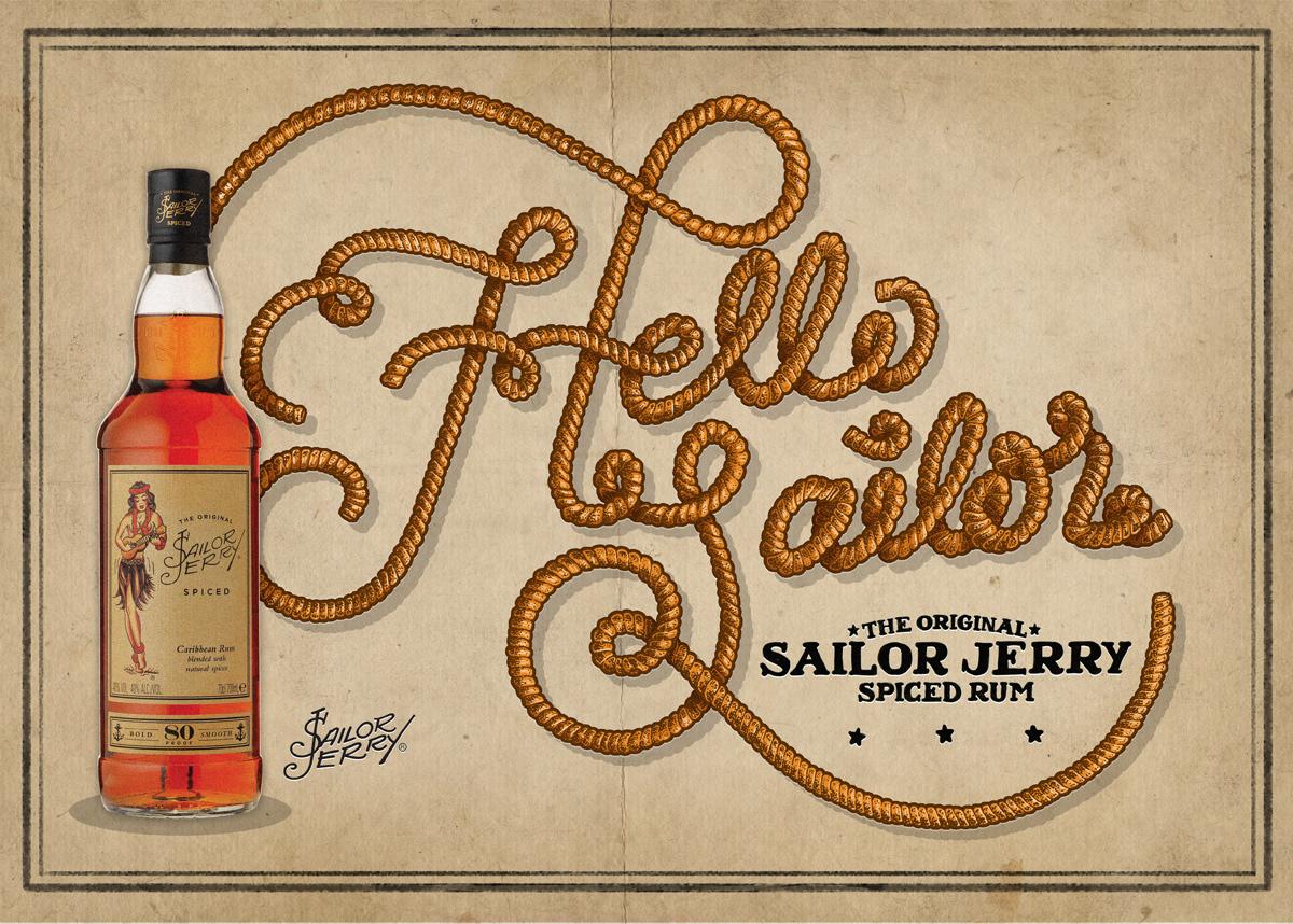 Rum Advertising  letterer lettering HAND LETTERING lettering artist ILLUSTRATION  Illustrator vintage typography