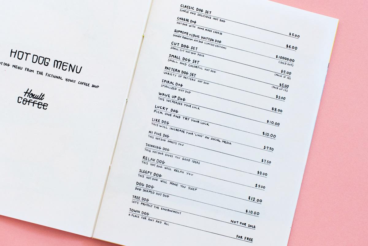 hotdog graphic design  ILLUSTRATION  Zine  art zine book Donuts risograph Riso howlt