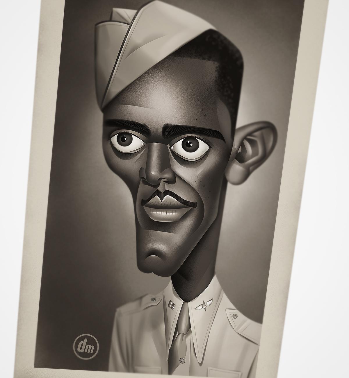 Retro portrait caricature   nostalgic vintage Character design  Sailor 1950s yearbook black and white