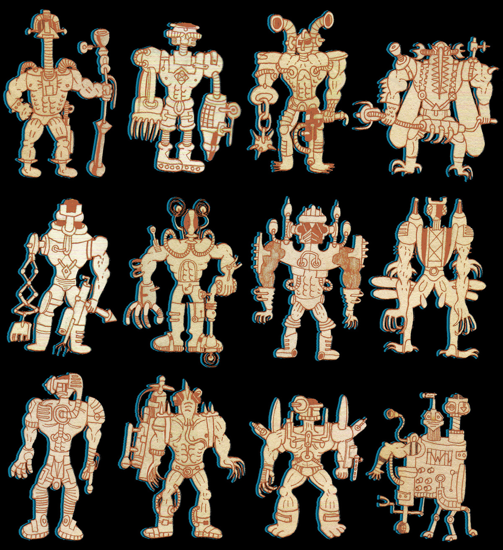 illustrations robots black