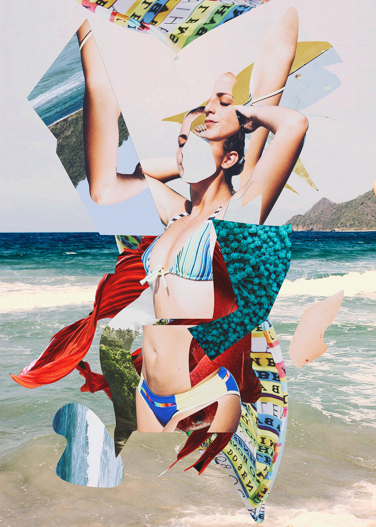 beach girl sexy modern contemporary artsy collage digital trend