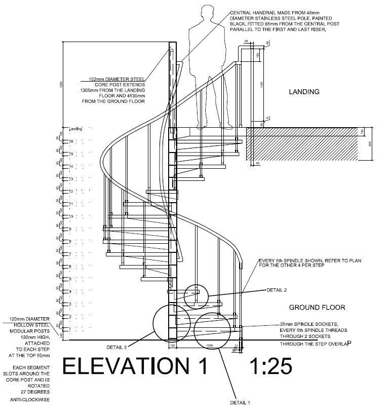 attractive spiral stair details #2: Spiral Staircase detail drawings, plan, section and elevaton including  material and fitting details - Zephyr Bar, Huddersfield - Using AutoCAD 2012