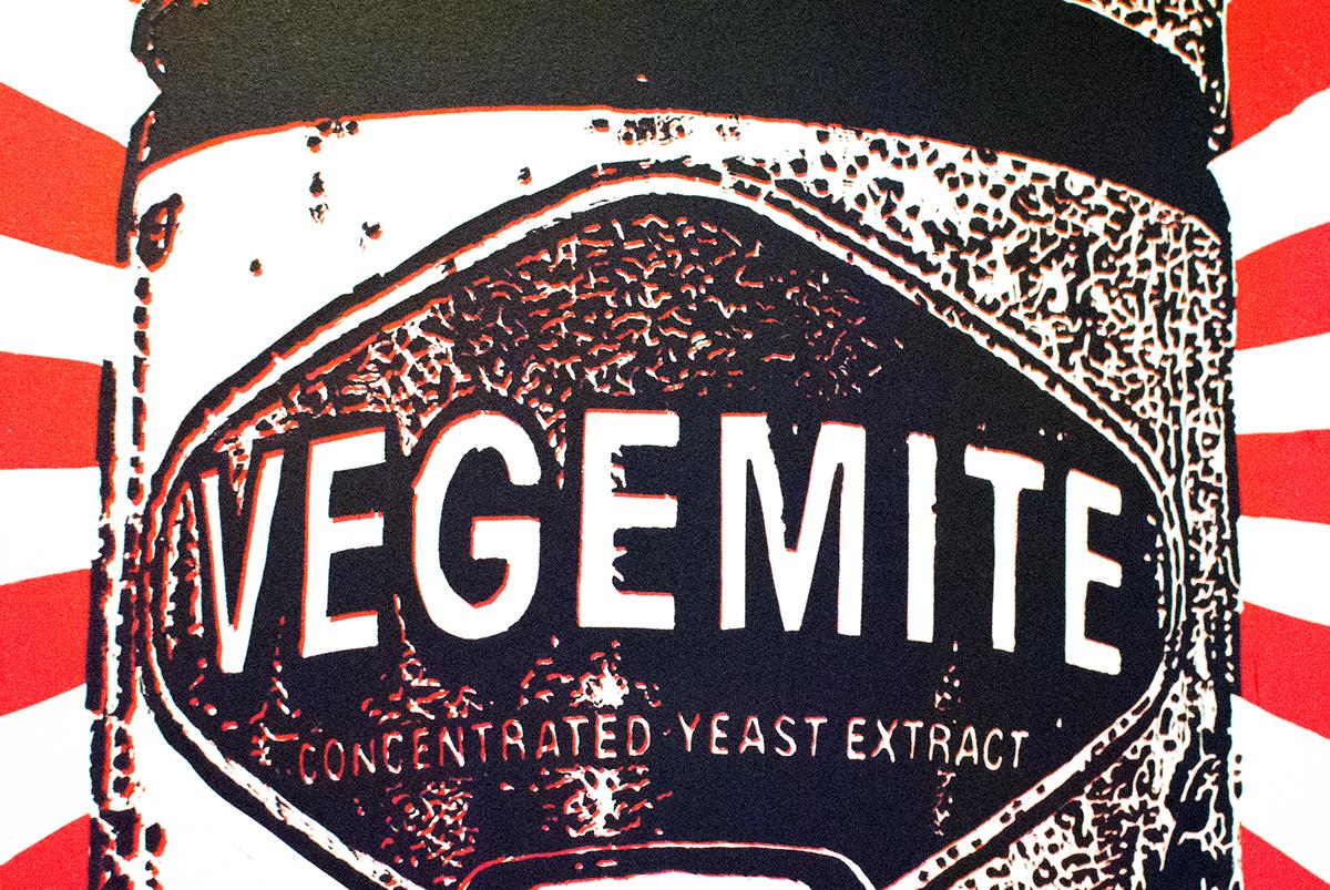 linocut Vegemite relief print Australia